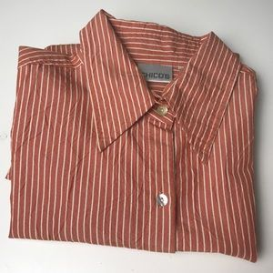 Chico's 2 (12))Salmon striped button front shirt